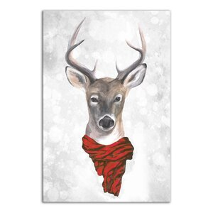 'Reindeer Wearing Red Scarf' Graphic Art Print on Canvas by The Holiday Aisle