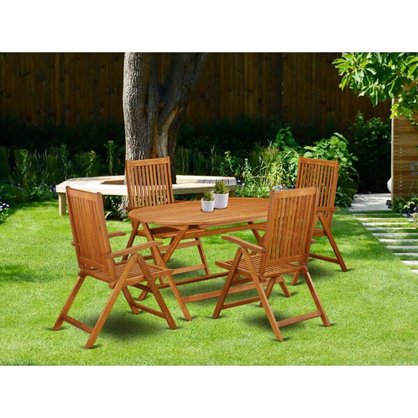 Pierre 5 Piece Patio Dining Set by Longshore Tides