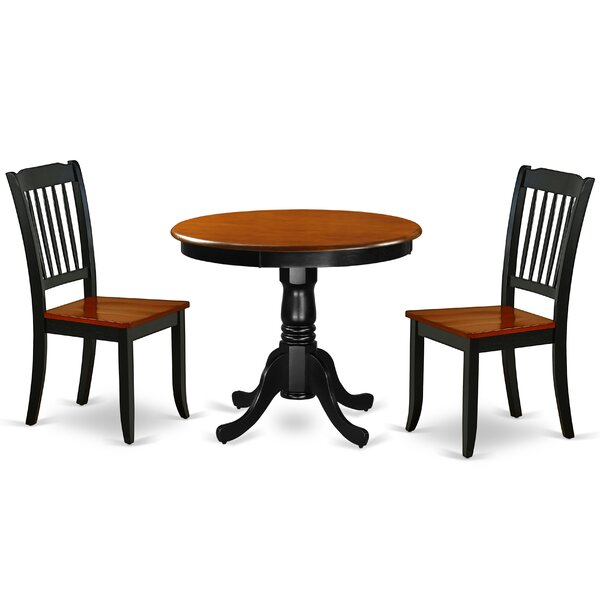 Kwiatkowski 3 Piece Solid Wood Dining Set by August Grove