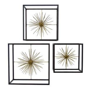 3 Piece Geometric Sunburst Wall Décor Set