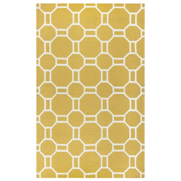 Evangeline Hand-Tufted Gold Indoor/Outdoor Area Rug by Ebern Designs