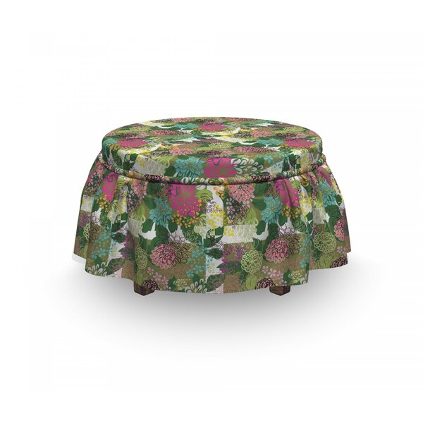 Floral Blooms Beauty 2 Piece Box Cushion Ottoman Slipcover Set By East Urban Home