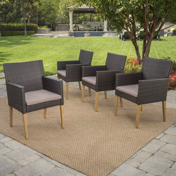Lonnie Wicker Patio Dining Chairs with Cushions by Mistana