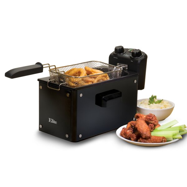 Platinum 3.31 Liter Immersion Deep Fryer with Timer by Elite by Maxi-Matic