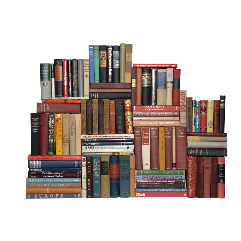 Booth Williams 100 Piece Curated Library Curated Vintage World History Library Authentic Decorative Book Set Wayfair Ca