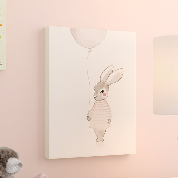 Dewayne Bunny With Balloon Stretched Canvas Art by Harriet Bee