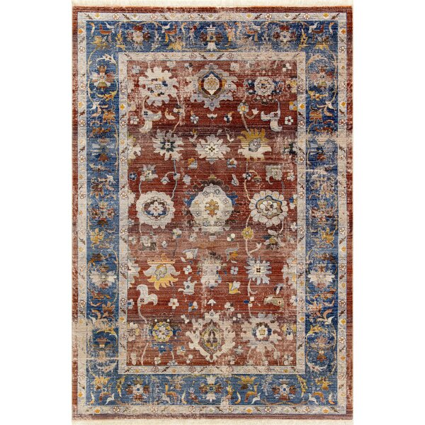 Kalish Border Red/Blue Area Rug by Charlton Home