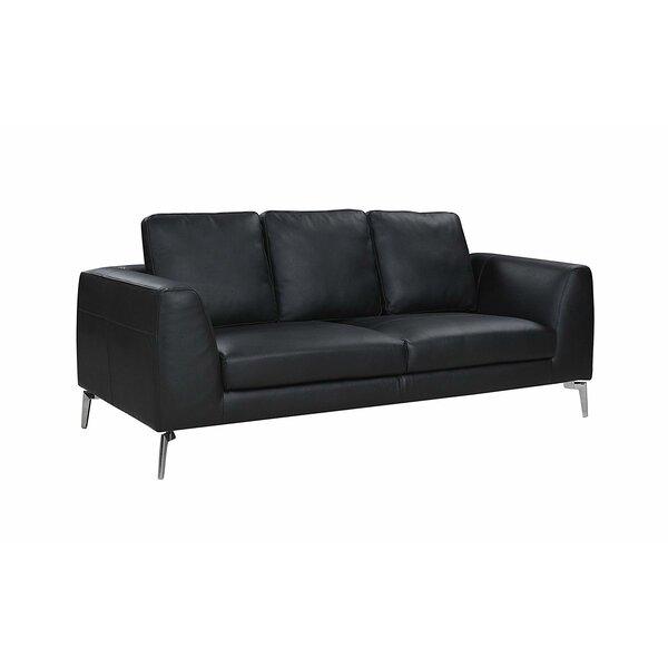 Wrayon Mid-Century Modern Plush Top Grain Leather Sofa by Orren Ellis