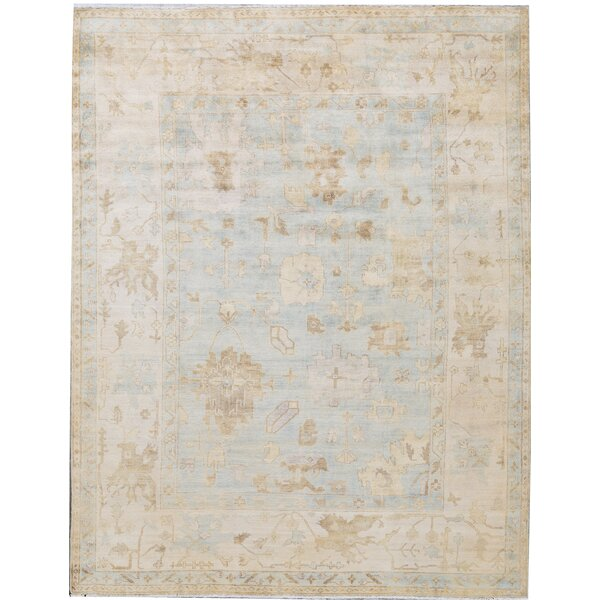 Hand-Knotted Wool Ivory/Light Blue Area Rug