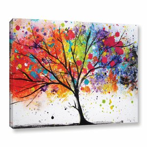 'Rainbow Tree VIII' Watercolor Painting Print on Canvas by Latitude Run