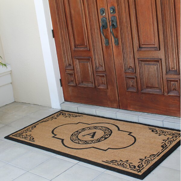 Issac First Impression Hand Crafted X-Large Abrilina Entry Coir Monogrammed Double Doormat by Darby Home Co