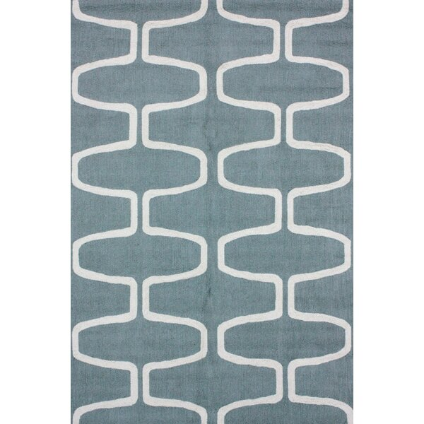 Serendipity Hand-Hooked Wool Light Blue/White Area Rug by nuLOOM
