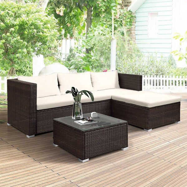 Allessandra 3 Piece Sectional Seating Group with Cushions by Latitude Run