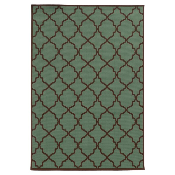 Alford Green/Brown Indoor/Outdoor Area Rug by Andover Mills
