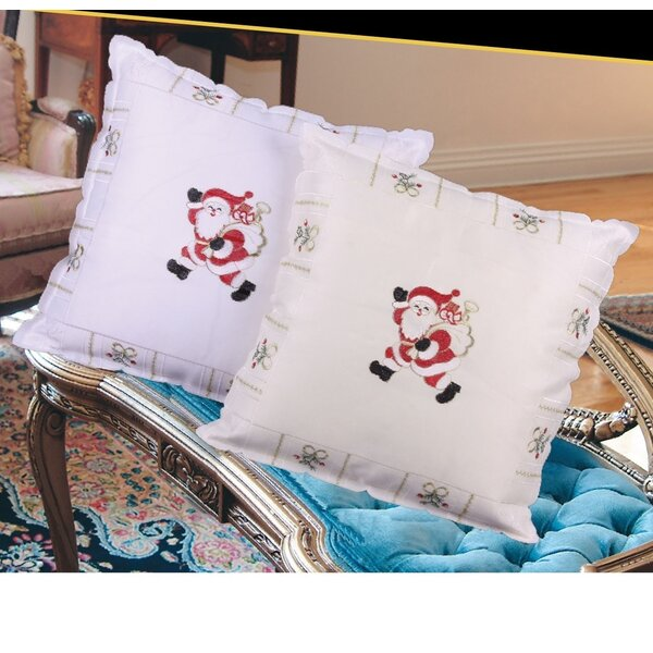 Walking Santa Throw Pillow by Violet Linen