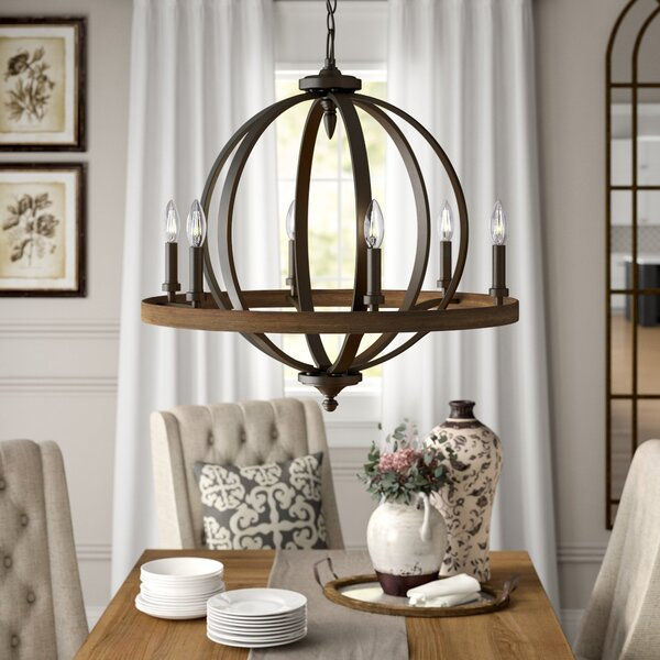 Bender 6 - Light Candle Style Wagon Wheel Chandelier With Wood Accents By Birch Lane™ Heritage
