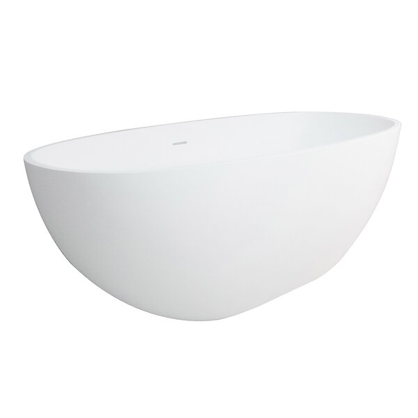 Aqua Eden Claira Solid Surface 64.95 x 31.88 Freestanding Soaking Bathtub by Kingston Brass