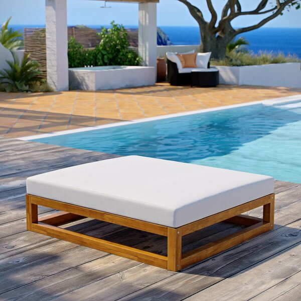Ringler Premium Grade A Outdoor Teak Ottoman with Cushion by Highland Dunes
