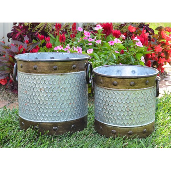 Leonide 2-Piece Metal Pot Planter Set by Gracie Oaks