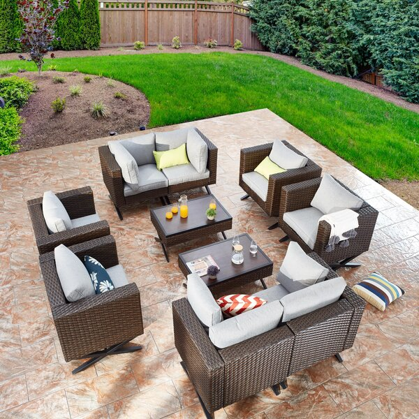 Rimersburg 10 Piece Multiple Chairs Seating Group with Cushions by Latitude Run
