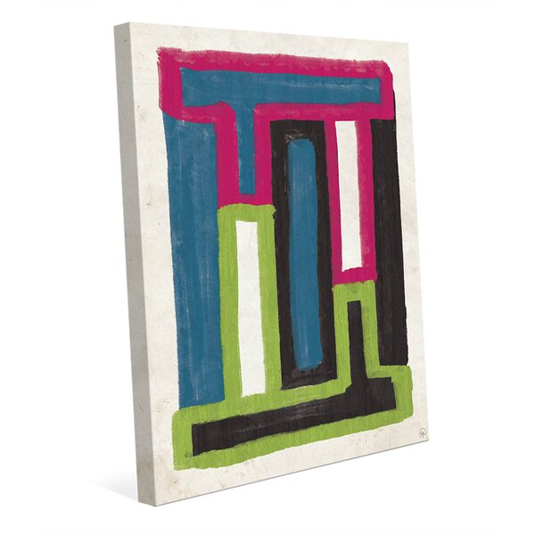 Ready Made Towers Teal Pink and Green Painting Print on Wrapped Canvas by Click Wall Art