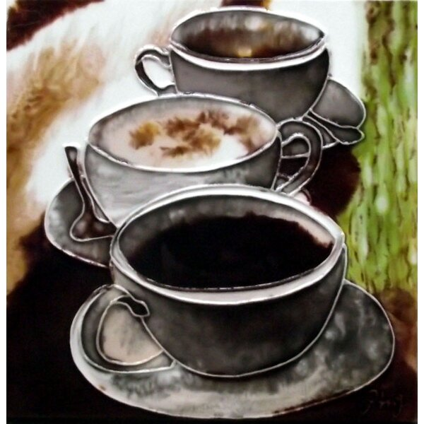 3 Coffee Cups Tile Wall Decor by Continental Art Center