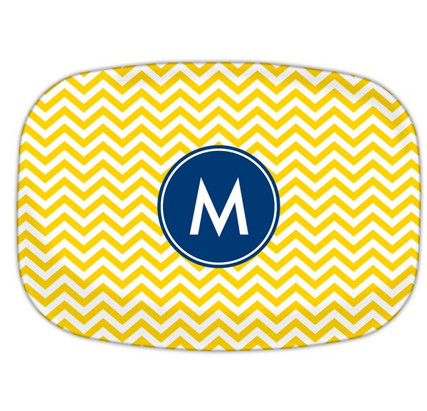 Chevron Single Initial Melamine Plate by Boatman Geller