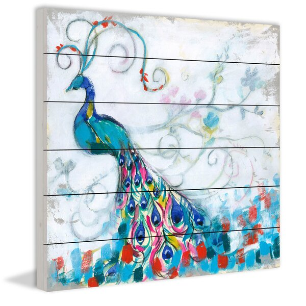 Confetti Peacock II Painting Print on White Wood by Marmont Hill