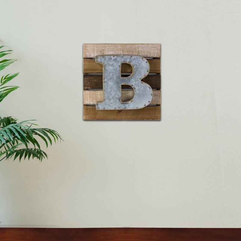Wood Rustic Letter Block B Wall Decor