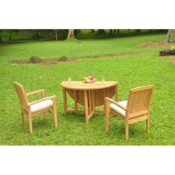 Niagara 3 Piece Teak Bistro Set by Rosecliff Heights