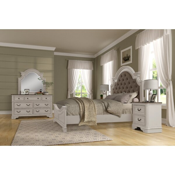 Lilia Oak Wood Standard 4 Piece Bedroom Set by One Allium Way One Allium Way