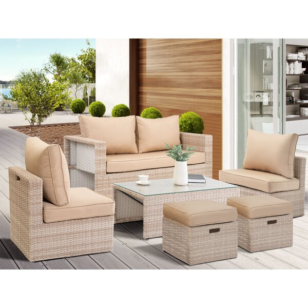 Aramis Outdoor 6 Piece Rattan Sofa Seating Group with Cushions by Rosecliff Heights