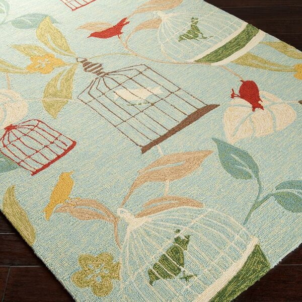 Tressler Hand-Hooked Blue Indoor/Outdoor Area Rug by Latitude Run
