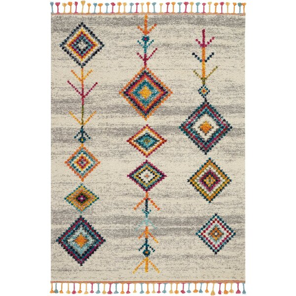 Wayne Moroccan Tribal Beige/Gray Area Rug by Bungalow Rose