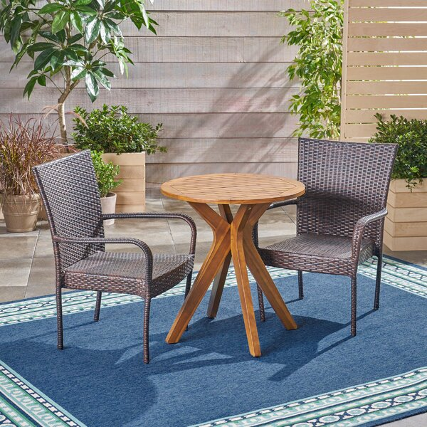 Liberatore Outdoor 3 Piece Bistro Set by Bungalow Rose