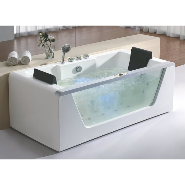 Rectangular 70.9 x 35.4 Freestanding Whirlpool Bathtub by EAGO