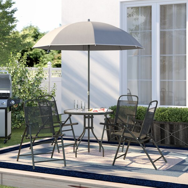 Beeson 6 Piece Dining Set with Umbrella by Red Barrel Studio