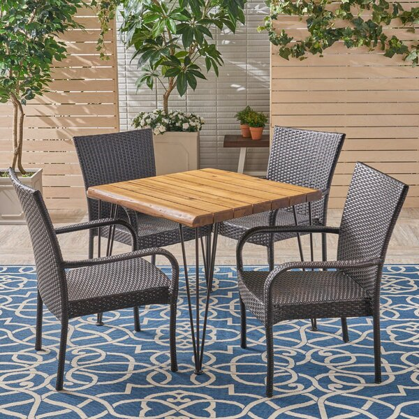 Gilmour 5 Pieces in Set Teak Dining Set by Bungalow Rose