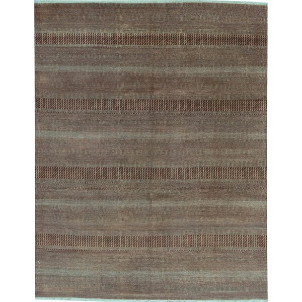 Striped Hand-Knotted Wool Rust/Ivory Area Rug