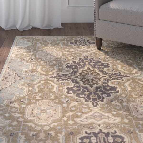 Ivan Hand-Tufted Oriental Taupe Area Rug by Charlton Home