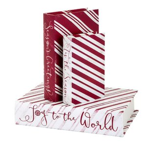 christmas candy strip decorative box set of 3 - Decorative Christmas Boxes