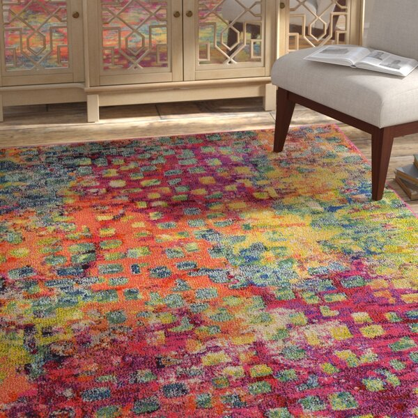 Massaoud Pink/Green Area Rug by Bungalow Rose