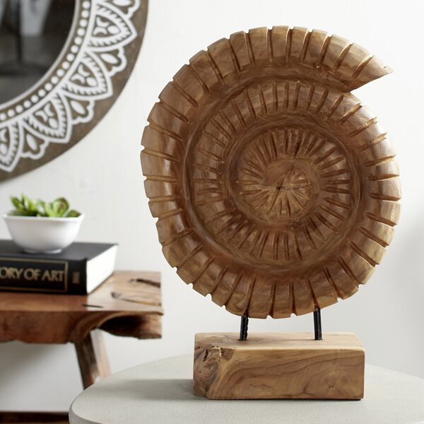 Diggs Nautilus Shell Teak Wood Sculpture by Union Rustic