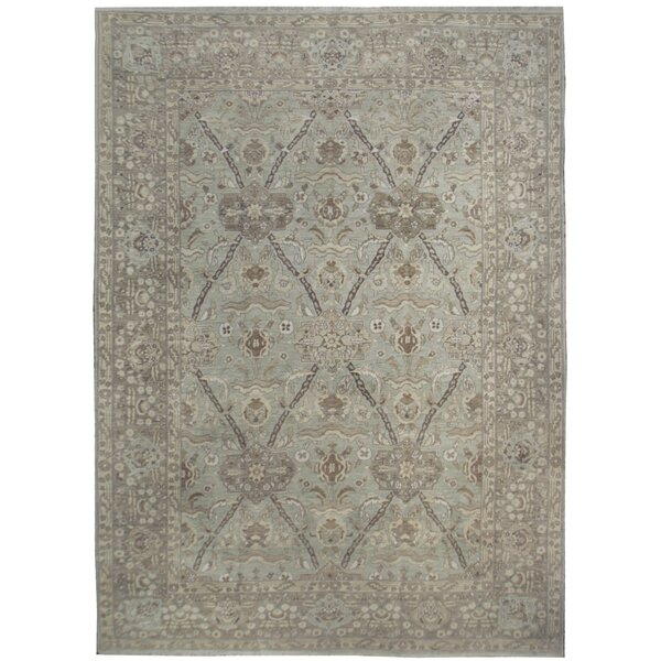 One-of-a-Kind Hand-Knotted Gray 12'1 x 18'2 Wool Area Rug