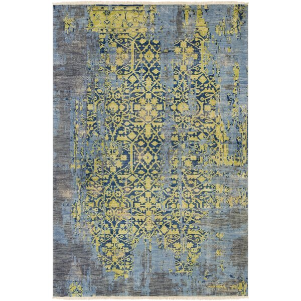 Makenna Hand-Knotted Lime/Denim Area Rug by Bungalow Rose