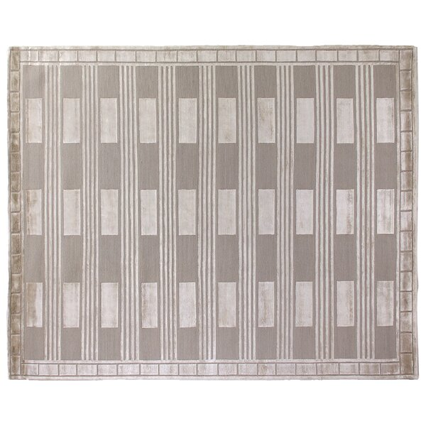 Metro Hand Woven Silk Beige Area Rug by Exquisite Rugs