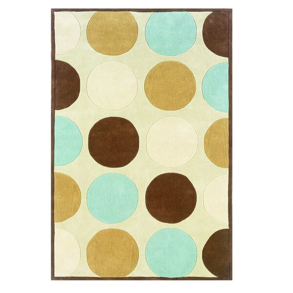 Rouillard Hand-Tufted Tan/Ice Blue Area Rug by Latitude Run