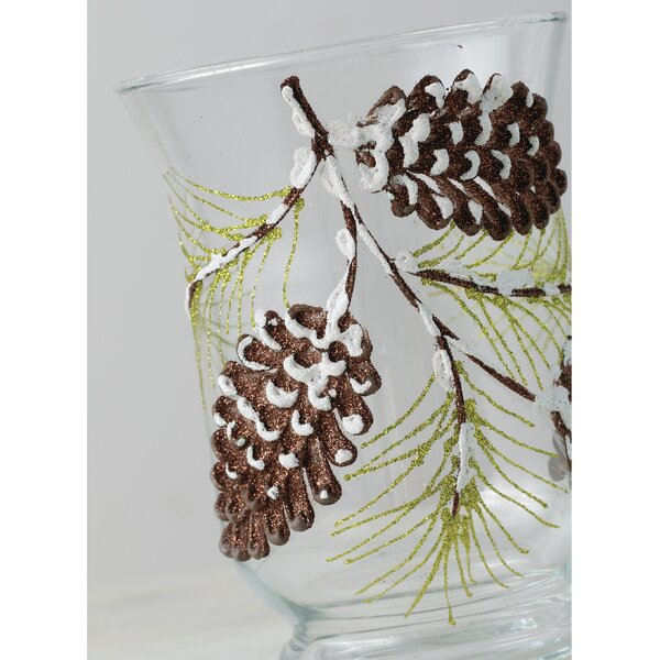 Pinecones Glass Hurricane by The Holiday Aisle