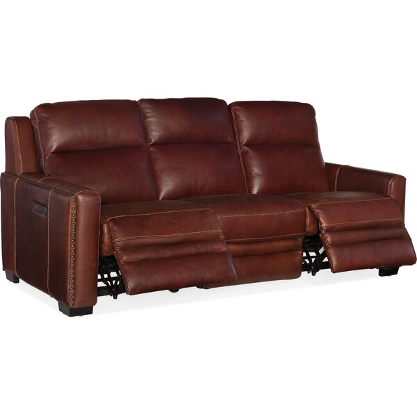 Review Aviator Leather Reclining Sofa