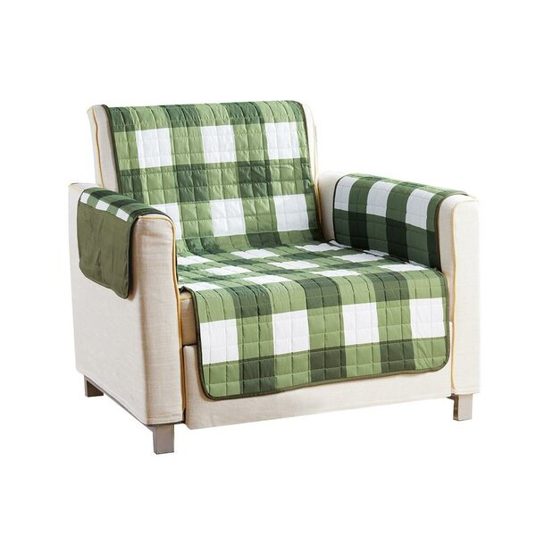 Checkerboard Reversible Waterproof Microfiber T-cushion Armchair Slipcover by Red Barrel Studio